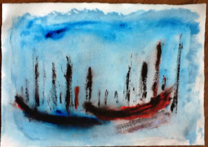 Góndolas -Acrylic on paper 25 x 35 cm from traveling sketch diary 2012